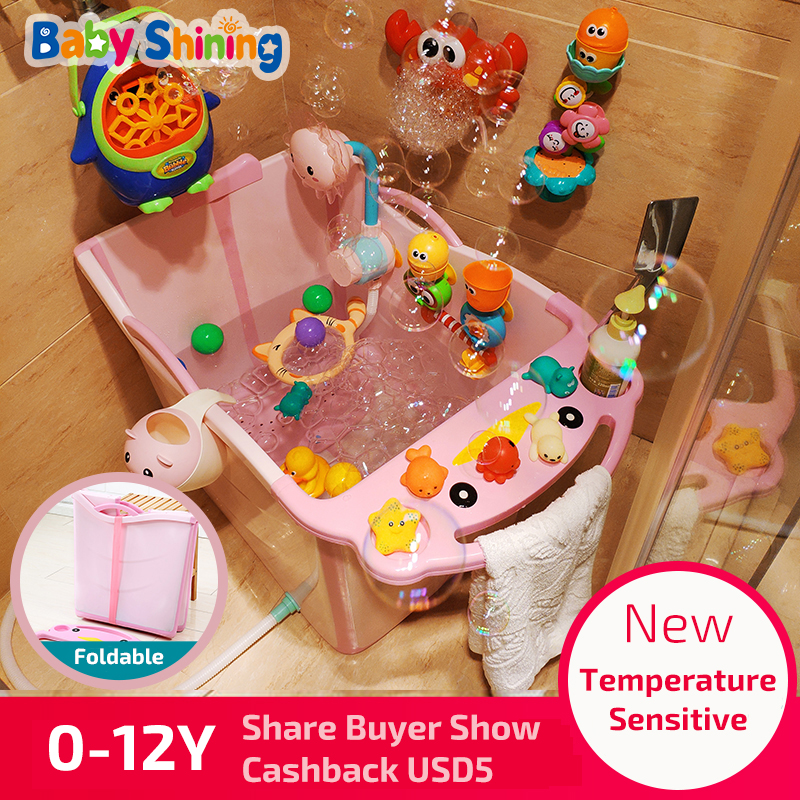 Baby Shining Folding Bath Tub 0-12Y PP Children Bath Bucket 9cm Thick Large Household Sauna Bathtub With Seat Portable Free Gift
