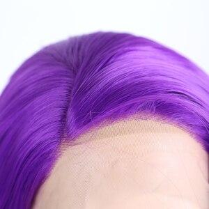 Image 5 - Charisma Lange Körper Welle Haar Lila Spitze Vorne Perücke Seite Teil Synthetische Perücken für Frauen Hitze Beständig Glueless Perücke 150 dichte