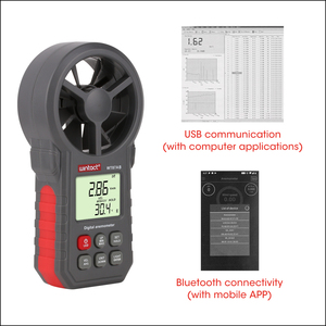 Image 4 - RZ Digital Anemometer Thermometer Humidity Meter Portable Wind Speed Meter With USB Bluetooth Anemometro Handheld Wind Meter