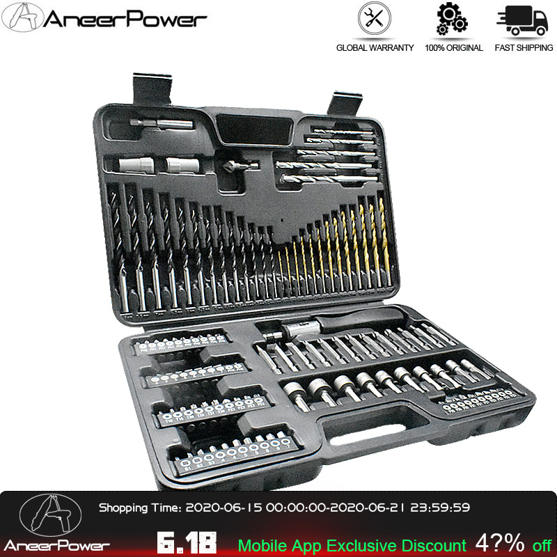 109 Pc Household Hand Tool Set Contain Titanium Coated Woodworking Impact Twist Drill Bit Screwdrivers Hexagon Nut Driver Wrench