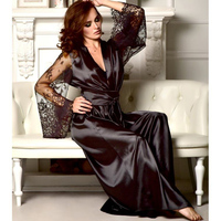 Женский сексуальный шелковый халат, кружевное белье с поясом, банный халат, ночное белье для женщин, сексуальное ночное белье размера плюс, ...