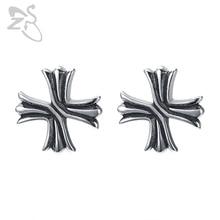 ZS Punk Style Cross Stud Earrings for Men 316L Stainless Steel Gothic Jewelry Women Rock Roll Earring