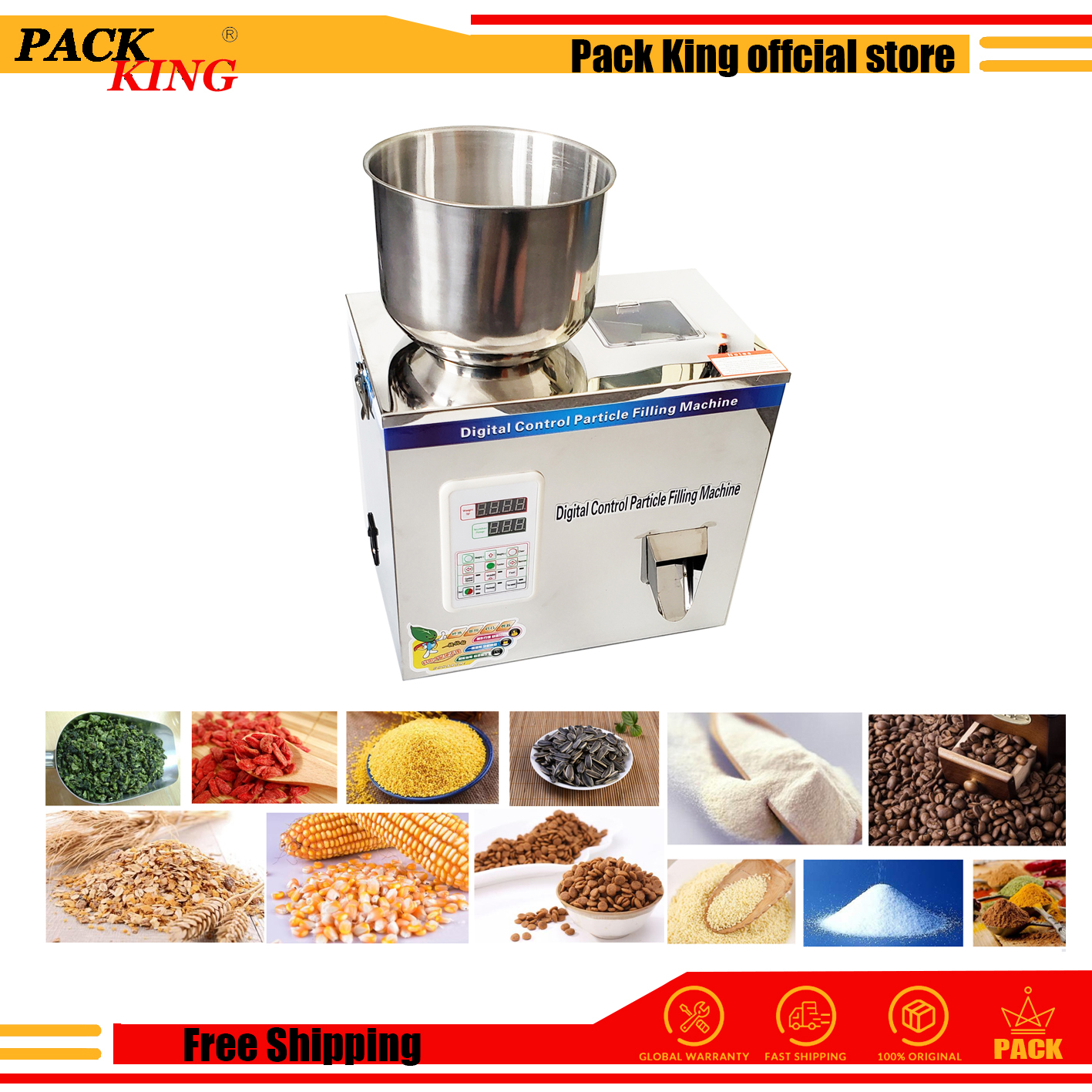 100g Weight And Filling Machine Tea Leaf Filler Grain Nut Sesame Seed Salt Rice Scale Coffee Condiment Milk Powder