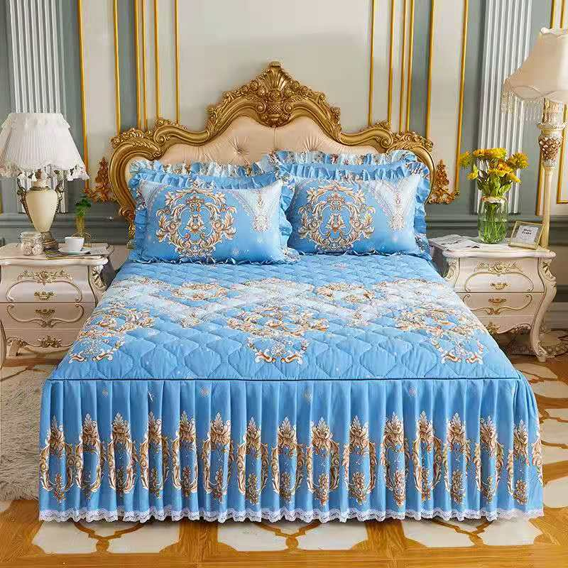 3 Pcs Winter Thicken Quilted Quality Bed Skirt Spread Queen King Size Home Decoration Bedding Set