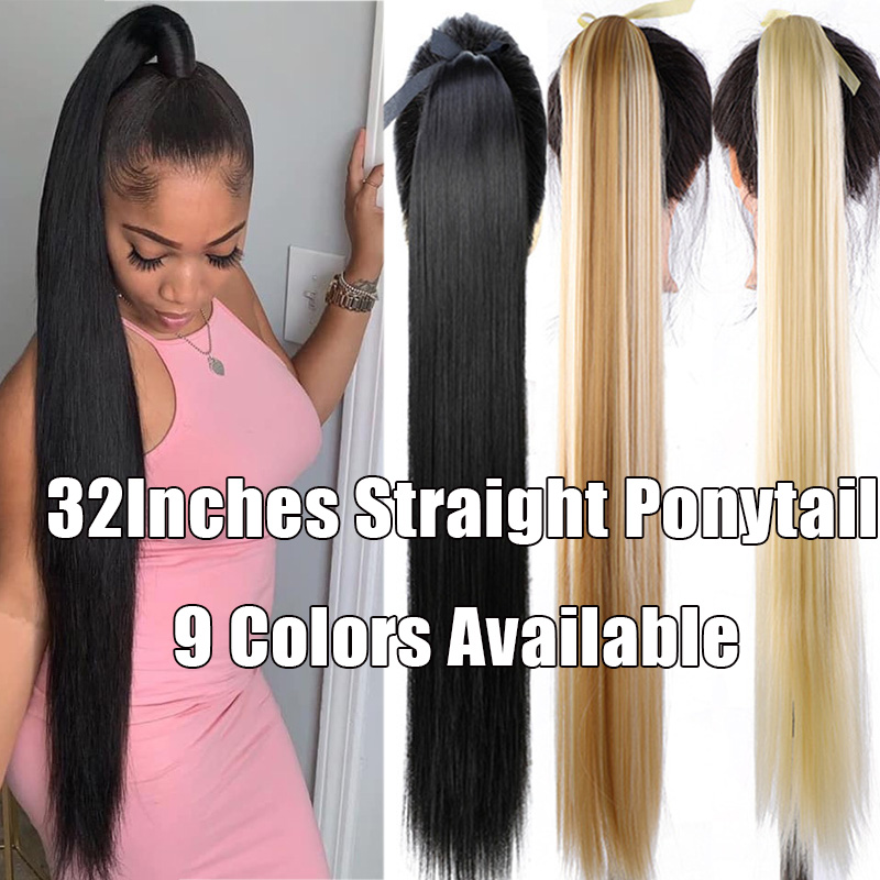 JINKAILI Super Long Straight Synthetic Clip in Hair Extensions Ponytail Hair Wig Heat-Resistant Wavy Pony Tail Wig