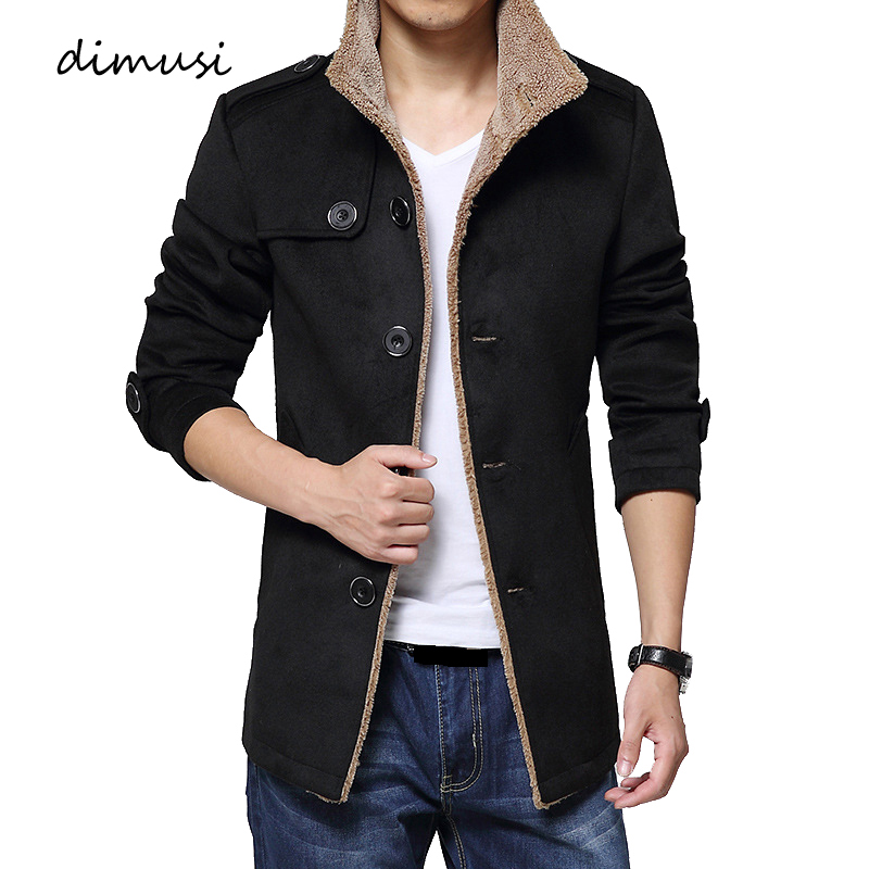 DIMUSI Winter Mens Wool Jackets Casual Men Blends Fleece Warm Windbreaker Coats Mens Mid Long Stand Collar Jackets Clothing