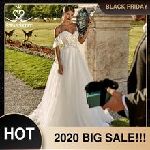 Романтическое свадебное платье с фатиновой аппликацией; Роскошная юбка; PZ20; Милое кружевное ТРАПЕЦИЕВИДНОЕ платье принцессы с открытыми плечами; Свадебное платье; Vestido de novia