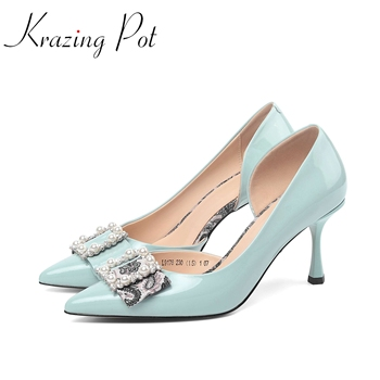 Krazing pot 2020 hot solid natural leather pointed toe high thin metal heels office lady pearl shallow slip on summer pumps L78