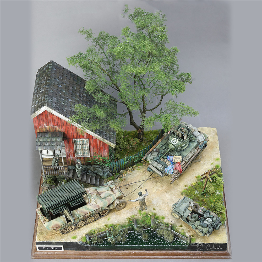DIY Military Building Model Kits World War II German Soldier Shelter House Wood Cabin 1:35 Scale Model Kits image