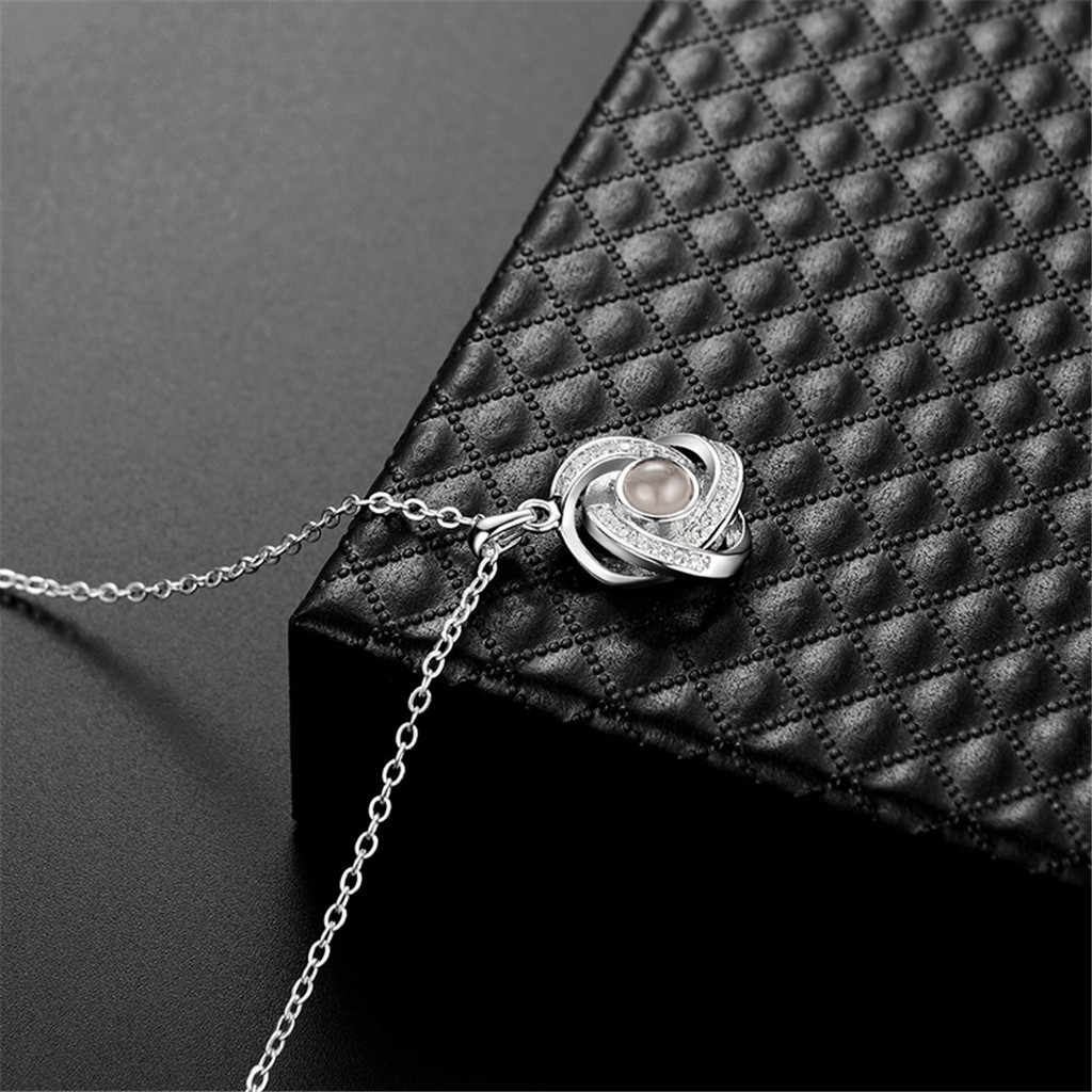 Silver Gold 2019 Fashion Crystal Projection Pendant Necklace For Women 100 Kinds I Love You Language Clavicle Chain Naszyjnik