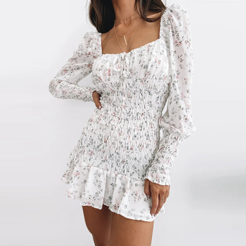 Summer Women Fashion Long Sleeve Floral Dress Stylish Square Collar Backless Dress for Ladies Autumn Casual Dresses Elegant Dresses Evening Long Sleeve Mini Party Polka Dot Sexy Spring Summer U Neck Dress Women Color: White Size: S