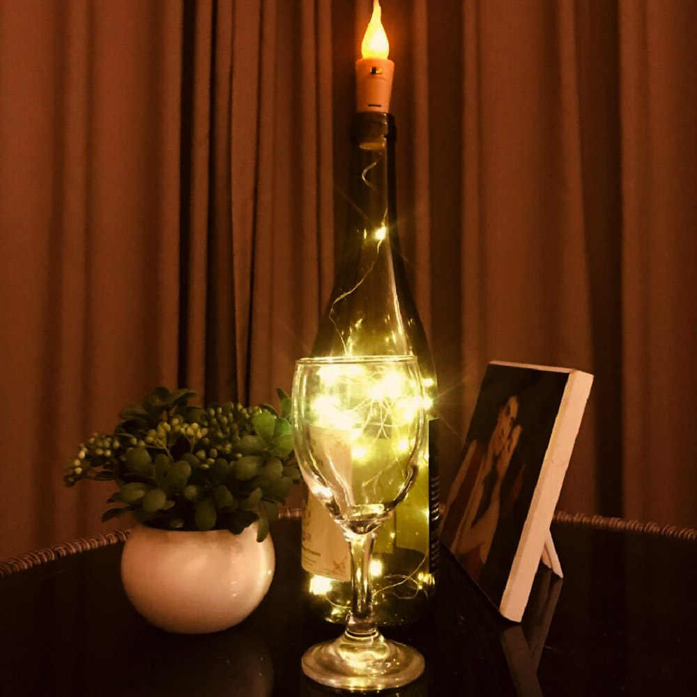 1/6/10/12pcs LED Candle String Lights Wine Bottles Stopper Lamp Copper Wire Bendable Fairy String Festival Party Decor