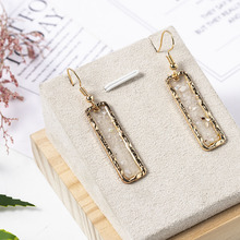 2020 New Fashion Women Retro Temperament Earrings Creative Crystal Gravel Rectangular Shell Earring Jewelry