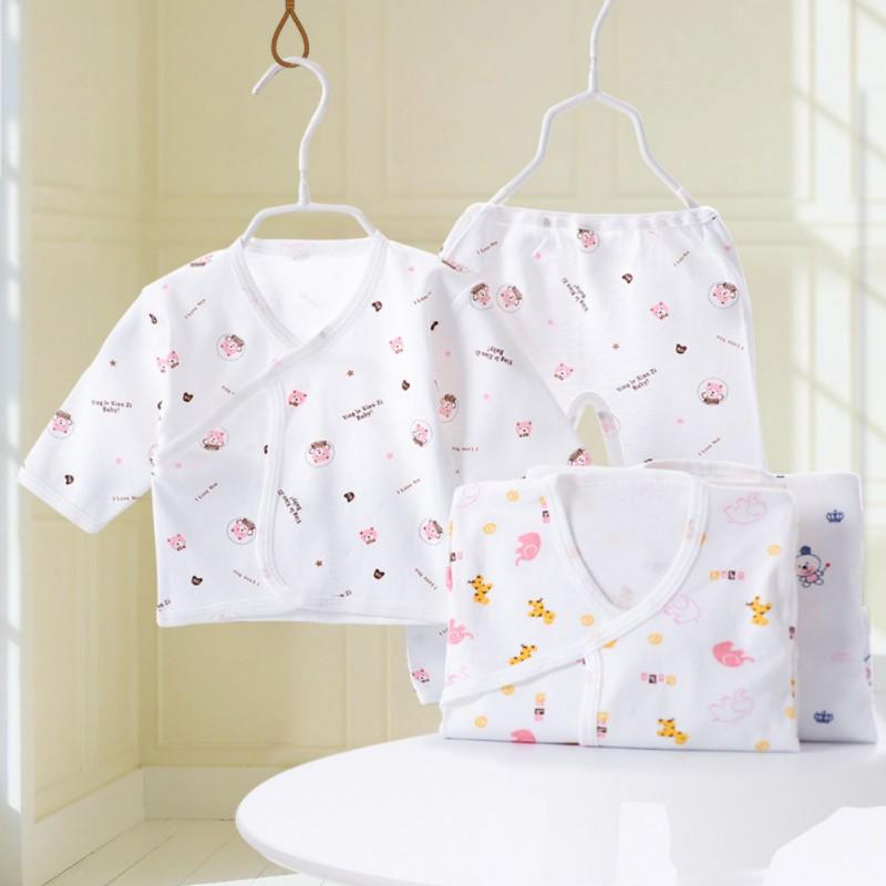 0-3M Months Spring Autumn Newborn Infant Baby Suits Boys Girls Clothes Sets Tops Pants Bibs Unisex Lace Up Clothing Set