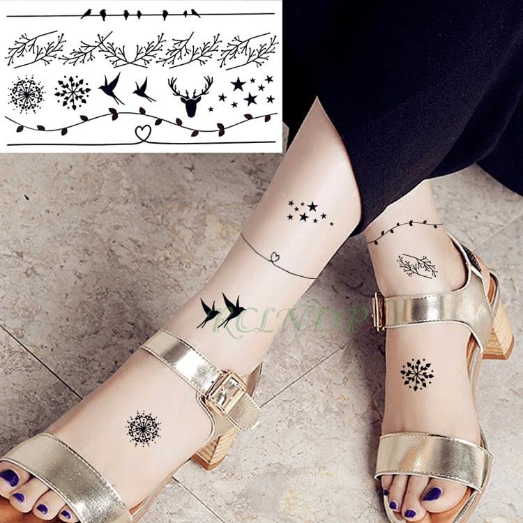 Waterproof Temporary Tattoo Stickers Snowflake Bird Leaf Stars Fake Tatto Flash Tatoo Tatouage Hand Back Foot For Girl Women Men