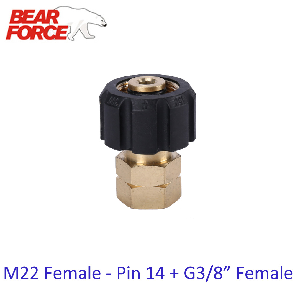 High Pressure Washer Car Washer Brass Connector Adapter M22 Female + G3/8 Female