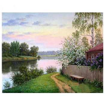 village lake natural scenery diamond embroidery full rhinestone diamond mosaic diamond painting cross stitch kit home decor M646 image