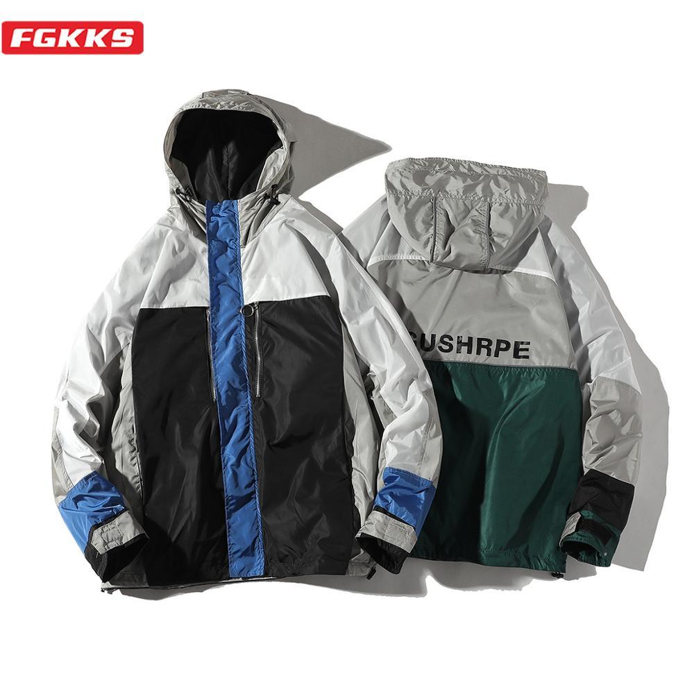 FGKKS Brand Men Hooded Jackets Spring Autumn New Men's Street Hip Hop Fashion Outerwear Male Patchwork Casual Jacket Coats