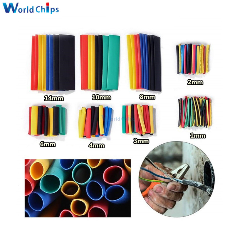 164pcs Set Polyolefin Shrinking Assorted Heat Shrink Tube Wire Cable Insulated Sleeving Tubing Set 2:1 Shrinkable Sleeving Tubes