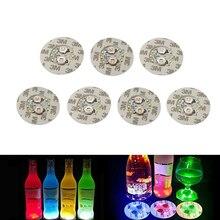 10 adet/grup Süper parlak 6 LED çubuk Coaster Şişe Işık Etiket Glorifier Flaş Işığı Up Bardak Mat Coaster Kulüpleri Barlar parti