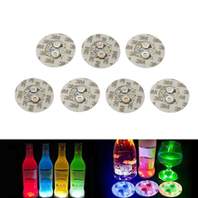 10Pcs/lot Super bright 6 LED Bar Coaster Bottle Light Sticker Glorifier Flash Light Up Cups Mat Coaster For Clubs Bars Party