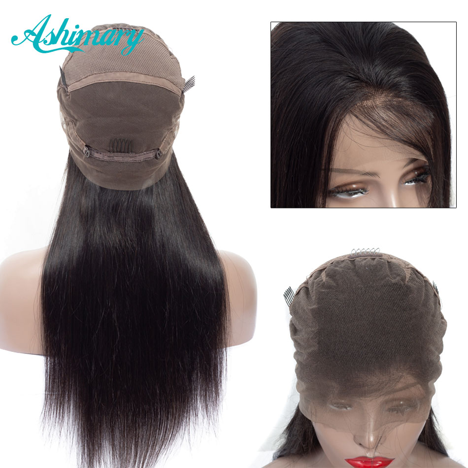 Ashimary Wigs Human-Hair Full-Lace-Wig Bleached Knots 180%Density Pre-Plucked Straight