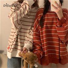T-Shirt à manches longues et col rond pour femme, élégant et ample, Style collégien, avec imprimé rayé coréen, printemps
