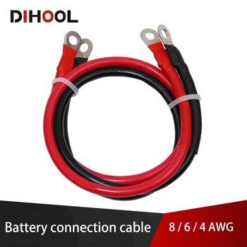 Cable de conexión de batería de 8/6/4 AWG, Cable de cobre de alta corriente con terminal, Cable inversor de coche, UPS, Serie de batería y conexión paralela 1