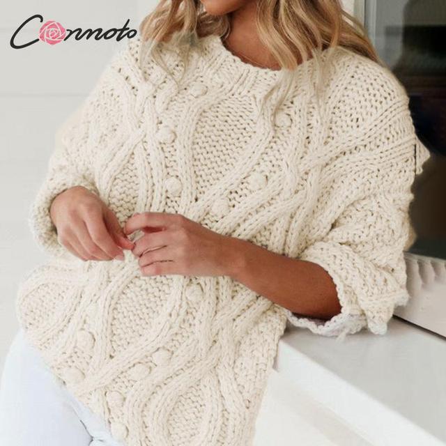 Conmoto blanc balle diamant haute couture pull pull femmes lâche chandails tricotés dames automne hiver pull pull