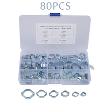 80PCS Double Ear Hose Clips Water Fuel Air Clamps 5-18MM Zinc Plated Assortment Box 140pcs double ear steel o clips clamps steel zinc plated assortment for hydraulic hose fuel o type pipe ear tube clamp
