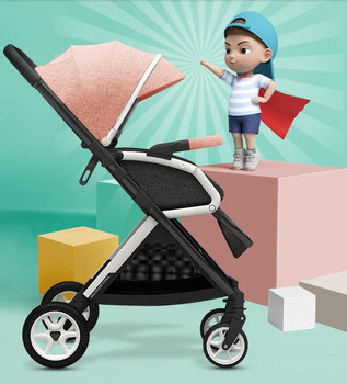 Baby stroller can sit and lie down portable portable folding simple high landscape two-way baby umbrella car baby stroller ultralight portable folding can sit and lie high landscape shock absorber children baby pocket car boarding