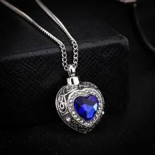 Heißer Verkauf Frauen Blau Ozean Herz Anhänger Halskette Vintage Strass Box Anhänger Halskette Mode Trendy Schmuck