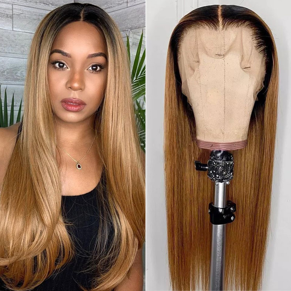 Ombre Brazilian Straight 13x4 Lace Frontal Wig 1B 27 Honey Blonde Highlights Remy Lace Front Human Hair Wigs For Black Women