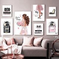 Mode Buch High Heels Mädchen Parfüm Blume Nordic Poster Und Drucke Kunst Leinwand Malerei Wand Bilder Für Wohnzimmer Decor