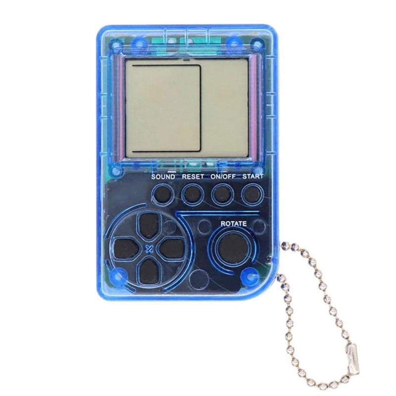 Mini Keychain Pendant Tetris Game Box Classic Retro Game Console Built-in 26 Games