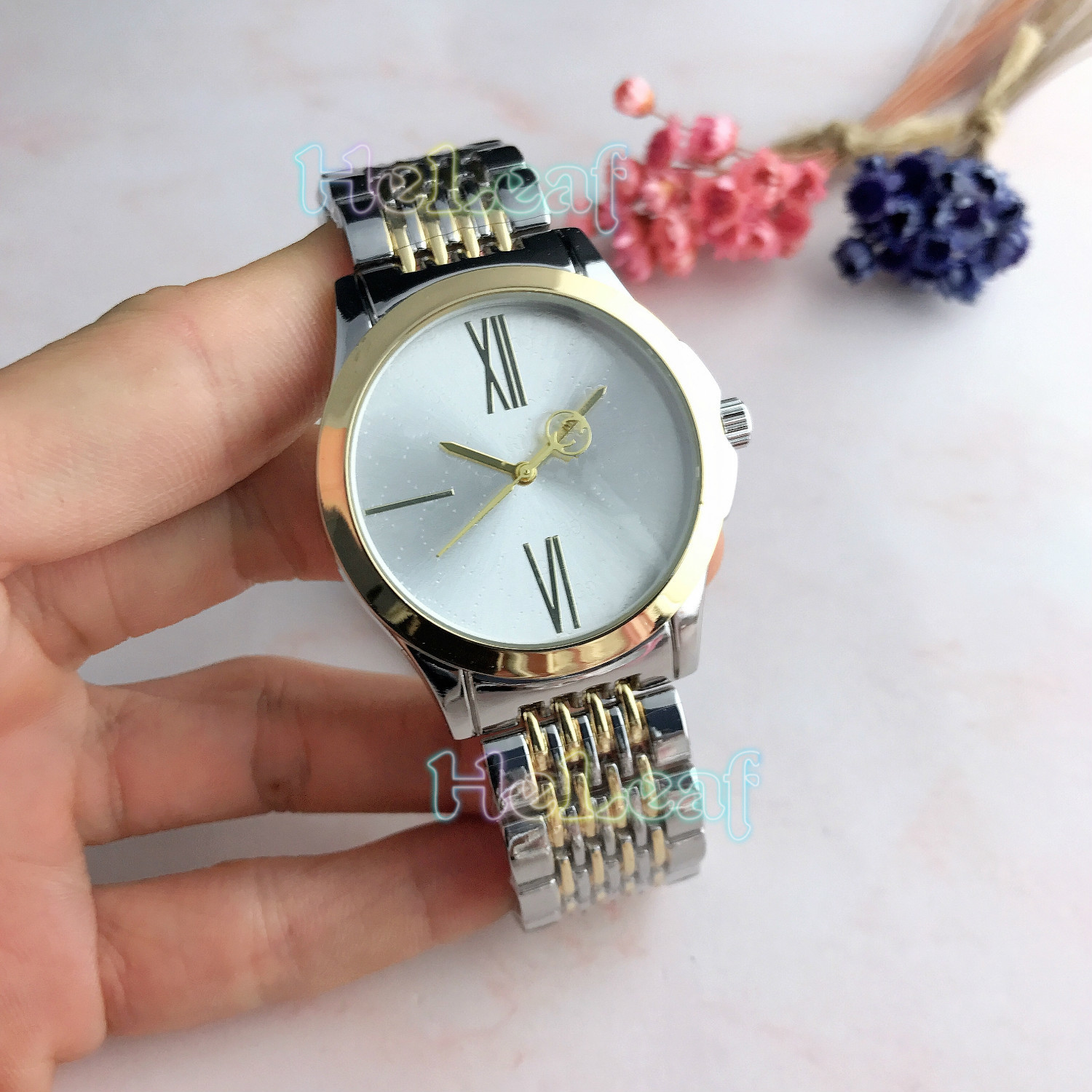 Fashion Brand Women Watches Silver Gold Round Stainless Steel  Gu Band Quartz Watch Female Clock Reloj Mujer Relogios