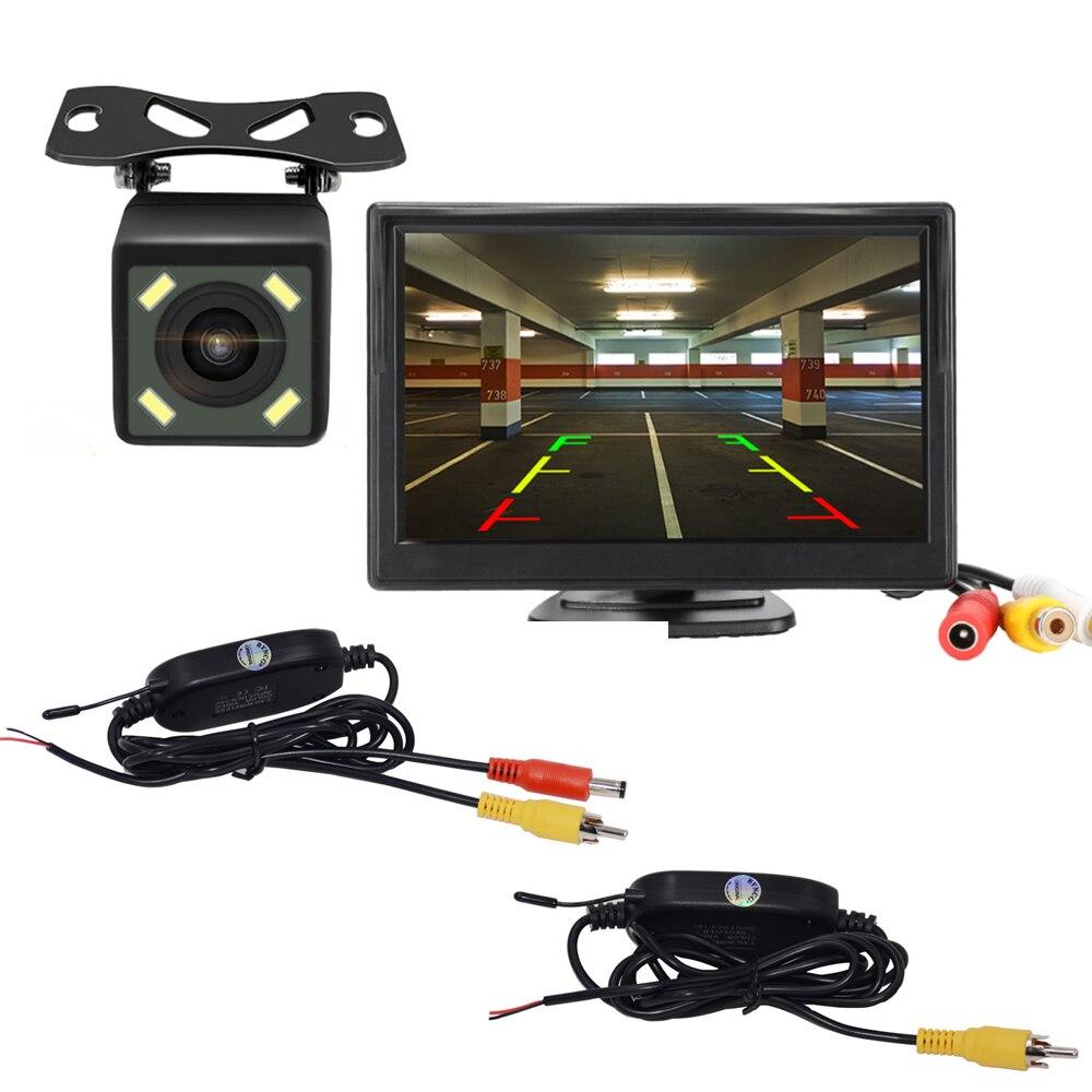 Автомобильная камера заднего вида с ЖК-дисплеем 5 дюймов, беспроводной видеопередатчик и приемник для парковки, монитор заднего вида