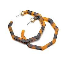 цена на Leopard Acrylic earrings Tortoise Shell earrings Star anise large hoop earrings for women fashion Acetate jewelry