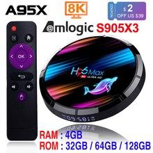 Caixa esperta da tevê do andróide 9.0 4gb 128gb amlogic s905x3 2.4g/5g wifi bt4.0 1000m 8k google media play h96max andorid caixa da tevê