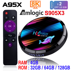 Image 1 - Caixa esperta da tevê do andróide 9.0 4gb 128gb amlogic s905x3 2.4g/5g wifi bt4.0 1000m 8k google media play h96max andorid caixa da tevê