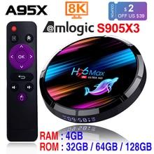 H96 MAX X3 Smart Tivi Box Android 9.0 4GB 128GB Amlogic S905X3 2.4G/5G WIFI BT4.0 1000M 8K Google Truyền Thông Chơi H96MAX Android TV Box