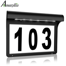 House Numbers Solar Powered Light Address Sign LED Solar Lamp Outdoor Waterproof Plaque Lighting for Home Yard Street