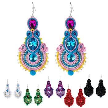 KPacTa Fashion Retro Earrings Ethnic Style Jewelry Ladies Fashion Jewelry Handmade Leather Ladies Color Pendant Tassel Earrings