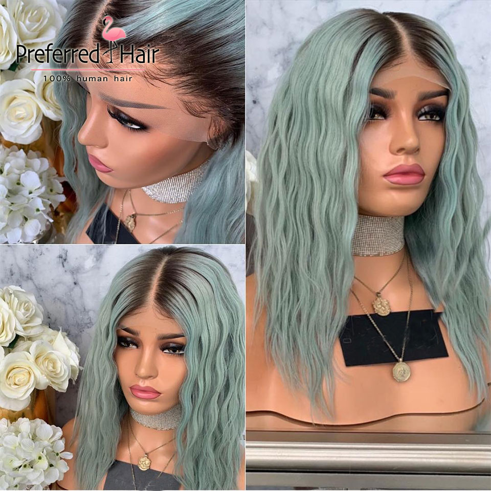 Preferred Ombre Human Hair Wig Brazilian Remy Green Color Loose Wave Wig Pre Plucked Full Lace Human Hair Wigs for Black Women image