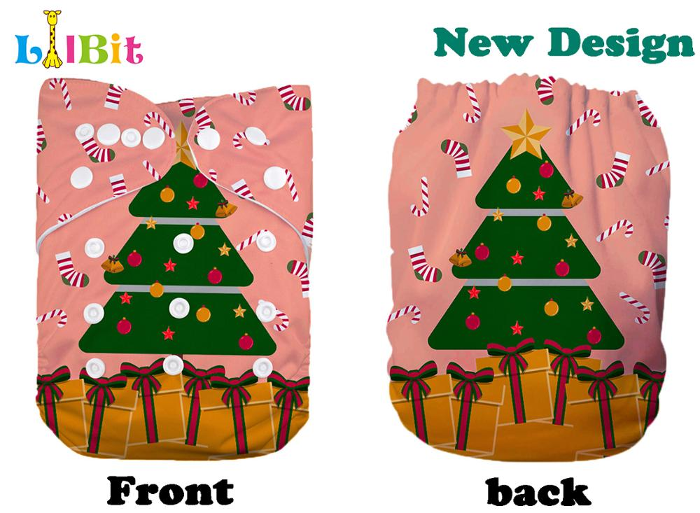 1 PC Reusable Holiday Christmas Print Baby Pocket Cloth Diaper Nappy