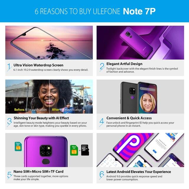 Фото ulefone note 7p смартфон с 61 дюймовым дисплеем четырёхъядерным цена