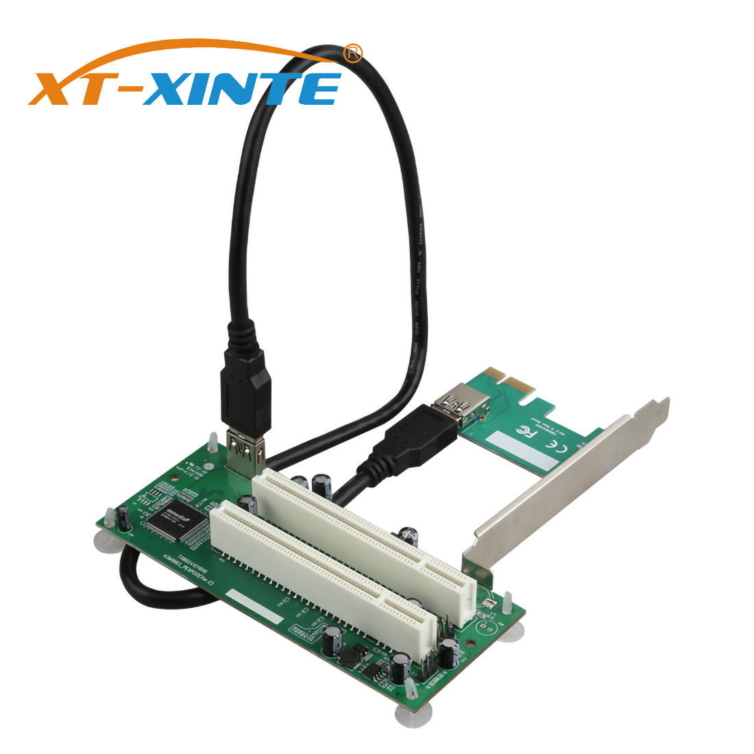 XT-XINTE PCI Express PCI-e to Dual PCI Adapter Card PCIE PCI Slot Expansion Riser Card USB 3.0 Add on Cards Converter