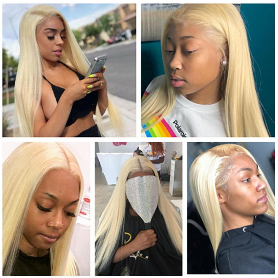 Transparent 13x6 613 Honey Blonde Straight Lace Front Wig Brazilian Remy Human Hair 150 density 360 Lace Frontal Wig Pre Plucked