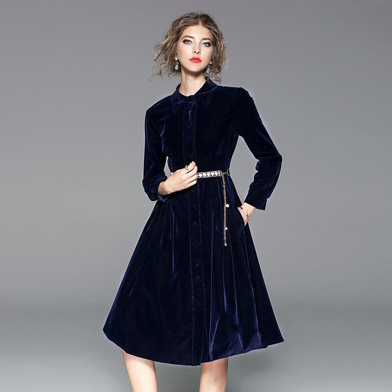 Hot Price 2019 Autumn Winter Dresses Women Vintage Velvet