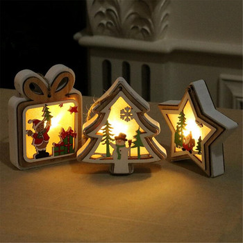 New 4 Styles Christmas Tree Hanging Ornaments Christmas Decorations For Home Battery Powered LED Light Wood Pendants Holiday Par